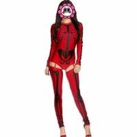 Abbille Sexy Women 2017 Skeleton Costume Skeleton Bodysuit With Leg Warmers Fashion Printed Bone Stage Uniform