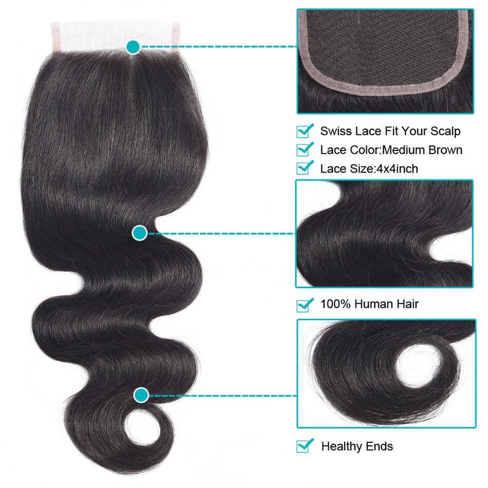 4*4 dentelle fermeture péruvienne vague de corps 100% cheveux humains UR beauté couleur naturelle Remy cheveux libre milieu trois parties fermeture