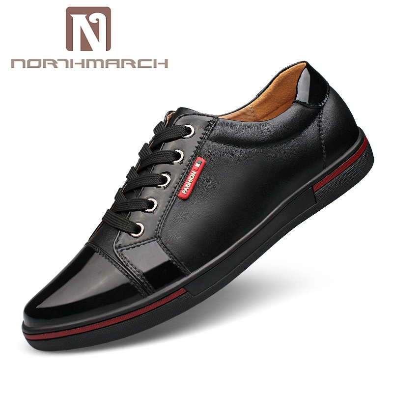 NORTHMARCH Genuine Leather Men Casual Shoes Lace Up Blue & Black Men Shoes Summer Sneakers Men Zapatillas Hombre Deportiva men summer increase leather shoes 6cm comfortable business casual black blue us9 5 lace up leather shoes cy712 2