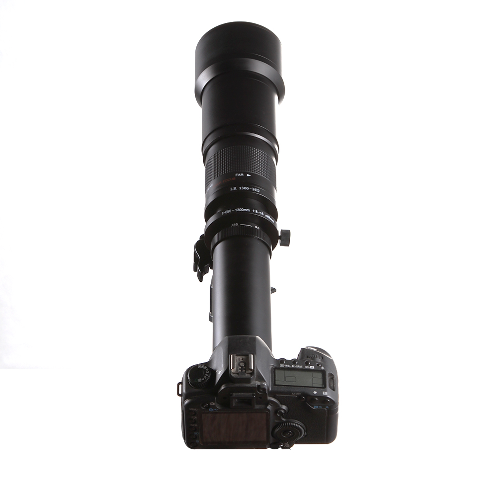 New 650-1300mm f/8-16 Telephoto Lens Manual Zoom TELE + T2 Mount Adapter for Canon Nikon DSLR Camera EF EF-S Mount Lens jintu 900mm f 8 mirror super tele manual fix focus lens for sony alpha a900 a700 a300 a200 a100 dslr camera