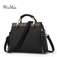 Women Patchwork Leather Handbags Striped Shoulder Bags Female Casual Tote Bags High Quality Lady Designer Handbag