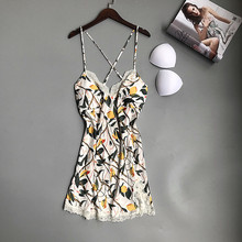 Daeyard Silk Nightgown 2019 Summer New Womens Nightdress Sleeveless Floral Print Home Dress Sexy Lace Backless Shirt Sleepwear
