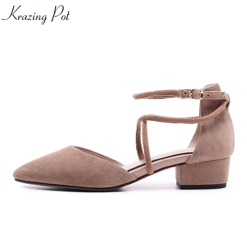 2018 Krazing pot kid suede sweet pointed toe solid buckle strap shoes med heels mature simple style cross tied women pumps L01 shofoo 2017 new arrive women mature med heels pointed toe buckle strap pumps dress