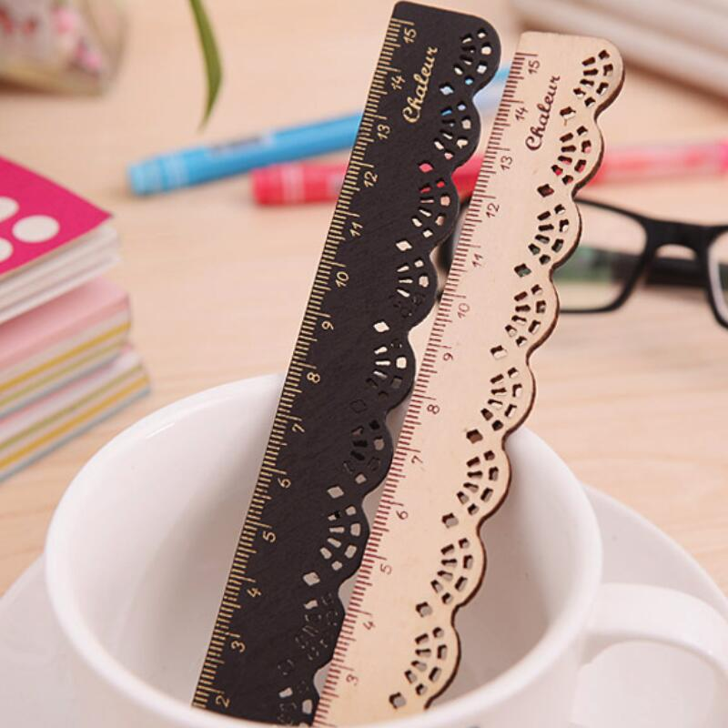1pc 15cm Korea Kawaii Cute Stationery Lace Brown Wood Ruler Sewing Ruler Office School Accessories Openwork Lace Wooden Ruler