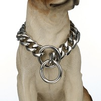 Polishing Silver Color 19mm Stainless Steel Choker Necklace 14 28 Inches Curb Link Chain Dog Collar For Strong Pet Supplies