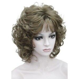 Image 4 - StrongBeauty frauen Synthetische Perücken Natürliche Lockige Perücke Medium Schwarz/Blonde Haarteil Haar Perücke