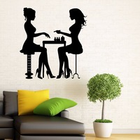 Nail Salon Vinyl Wall Decal Beauty Salon Sexy Girl Lady Manicure Mural Art Wall Sticker Nail