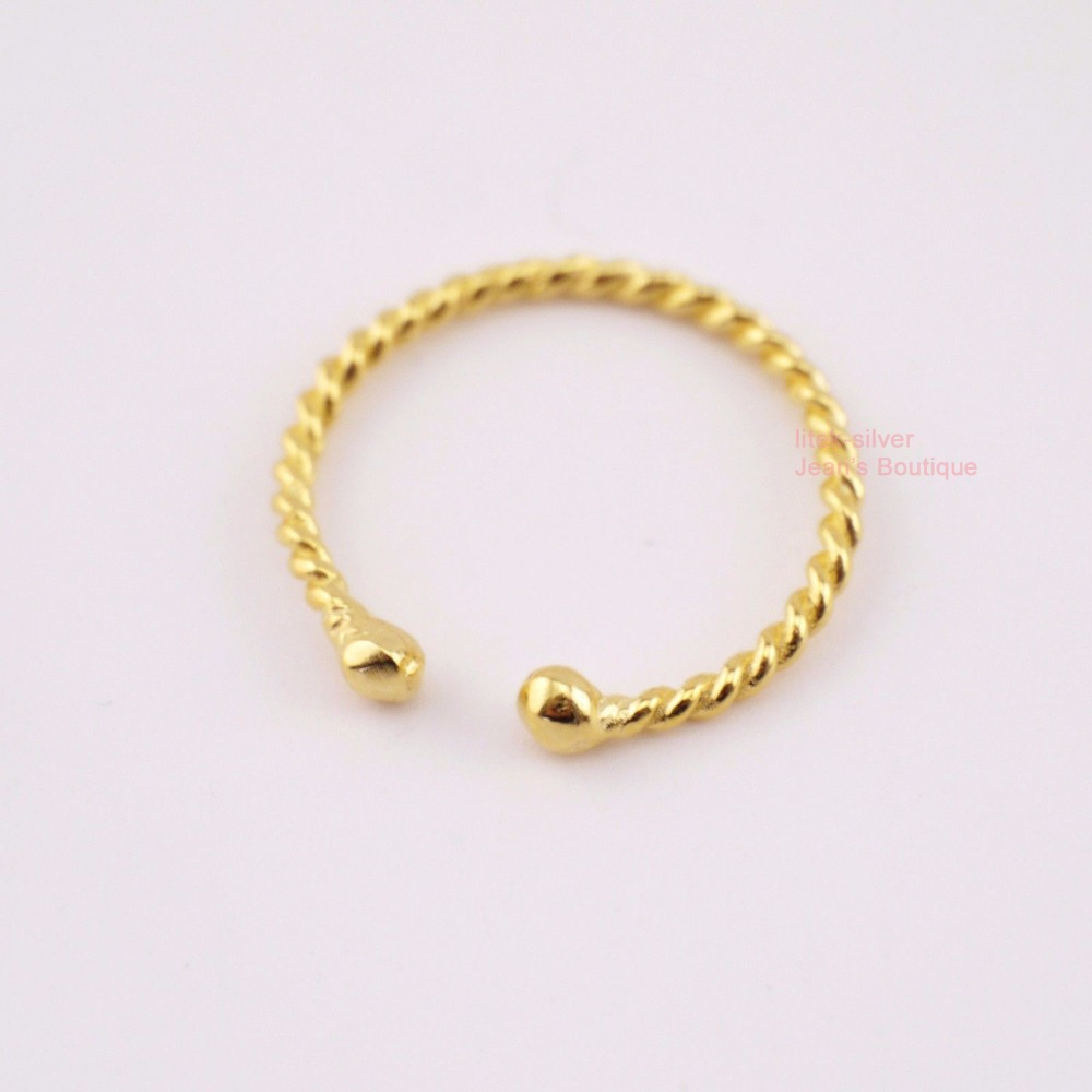 Gold Toe Rings For Women - 925 sterling silver gold tone twist adjustable knuckle midi pinkie toe ring size 2 5 a3488