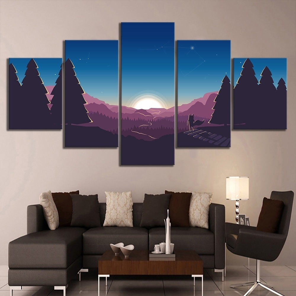 HD Cartoon Pictures Nature Scenery Sunrise Landscape Painting on Canvas Wall Art for Home Decor 1