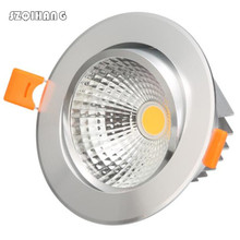 High quality 7W 12W 15W LED COB Downlights Dimmable Recessed Ceiling Led Down Light Spot 110V  220V Silver shell