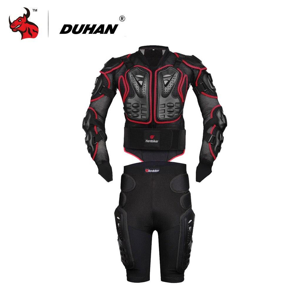 HEROBIKER Moto Vestes Moto Motocross Racing Moto Body Armor Protection Veste + Engrenages Shorts Pantalon Rouge S-5XL