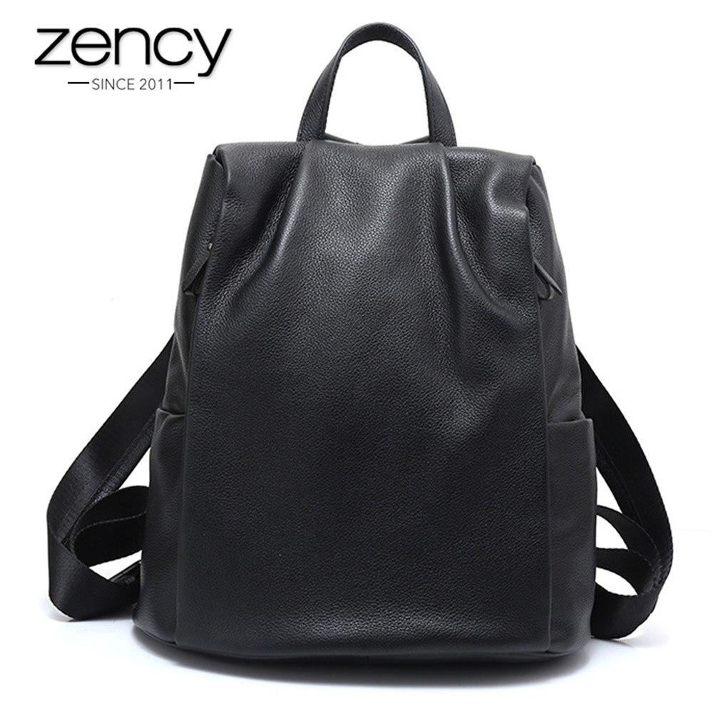 Zency Nouveau Noir sac à dos pour femme 100% Véritable En Cuir Pratique nouveau jouet Grand cartable pour filles Mode Féminine À Dos Pour Ordinateur Portable