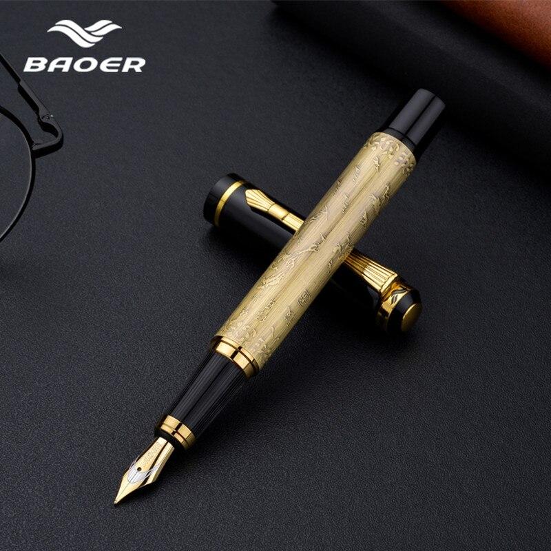 Haute qualité stylo en métal baoer stylo plume luxe pluma fuente stylo plume luxe cadeau papeterie encre stylo boligrafos de marca luj