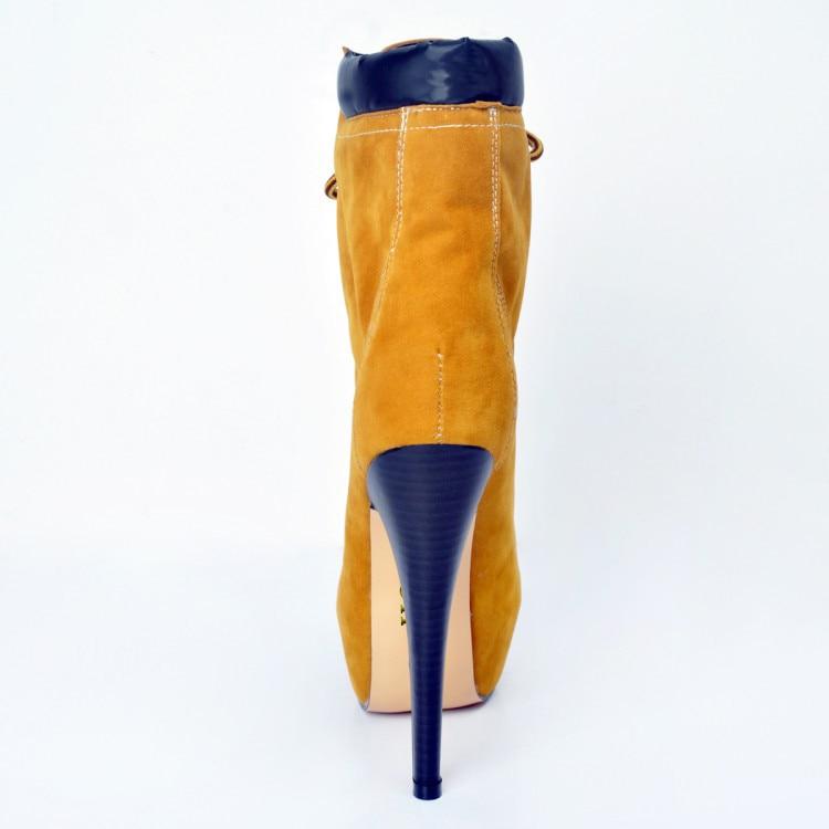 Heels 15 Runde High Stiletto D0254 Yifsion Schuhe Größe Winter Frauen Kappe Gelb Yellow Büro Stiefeletten Stiefel Plus Warme 4 Uns Plattform xUf0z1x