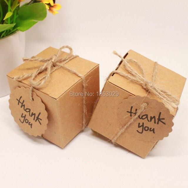 Us 13 49 5 Off 50psc Kraft Hochzeit Gunsten Partei Sussigkeiten Geschenk Box Mit Danke Sie Tag Baby Shower Souvenirs Vintage Rustikale