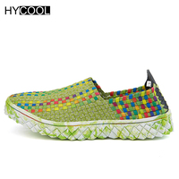 HYCOOL 2017 New Arrival Women Aqua Shoes Woven Breathable Beach Shoes For Men Casual Non Slip