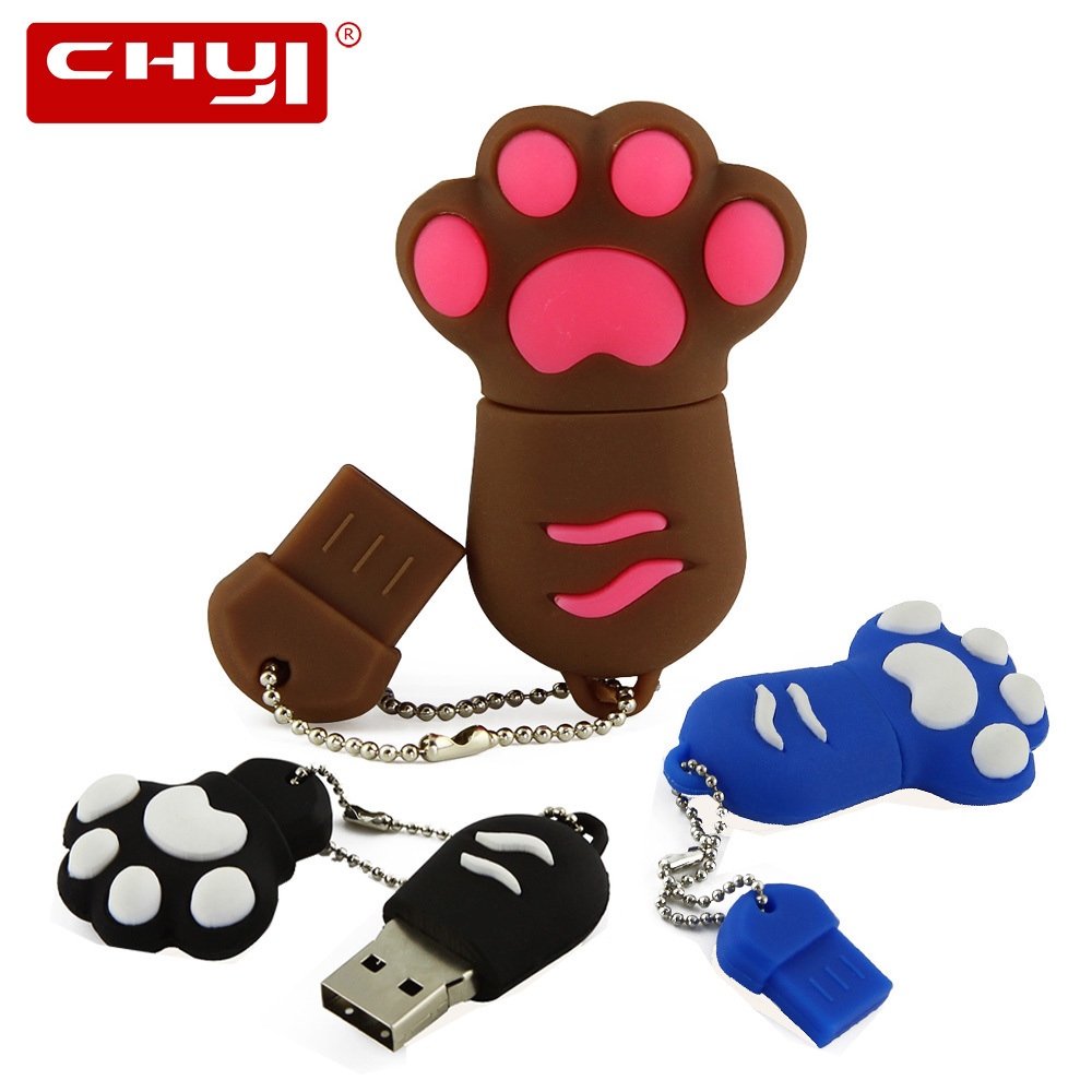 цена на CHYI Cartoon Cute USB 3.0 Flash Drive Pen Drive Cat Paw Claw Shaped Memory Stick 4GB 8GB 16GB 32GB 64GB Pendrive U Disk For Gift