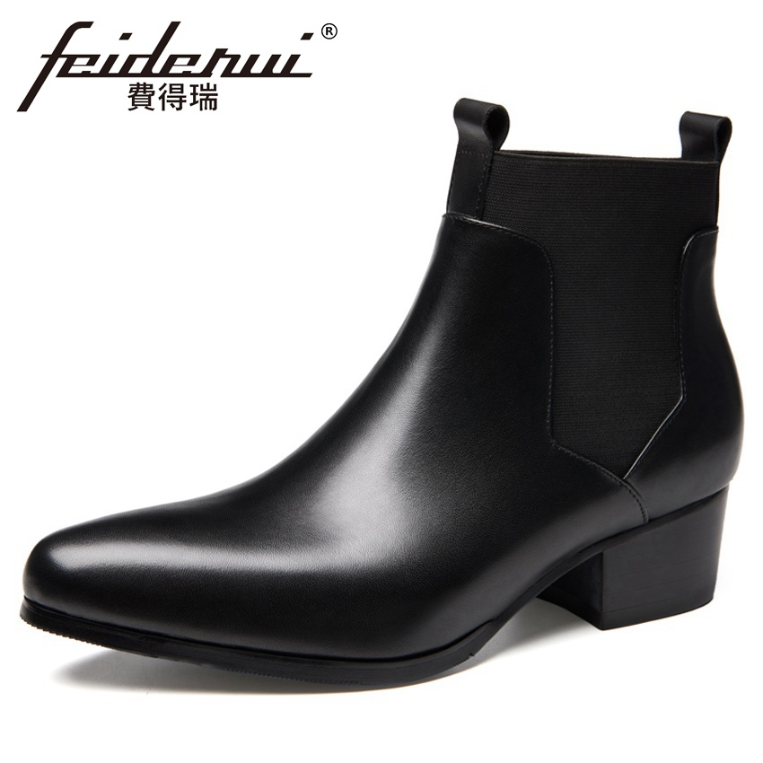 2018 New Designer Genuine Leather Men's Chelsea Riding Ankle Boots Pointed Toe Outdoor Handmade Man Cowboy Martin Shoes HQS294 new summer designer man handmade breathable chelsea shoes male genuine leather men s round toe cowboy riding ankle boots ss347