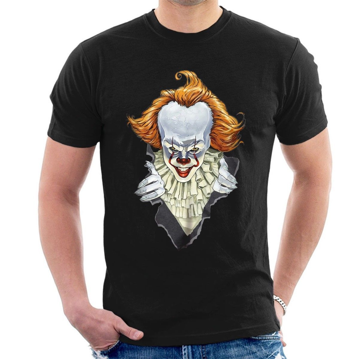 Pennywise Bursting Out T Shirt Stephen King It Ballon Clown Movie Inspired F09 Delicious In Taste T-shirts Men's Clothing