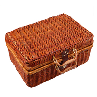 S M L Handmade Travel Picnic Woven Bamboo Basket Mini Rattan Suitcase Storage Basket Fruit Cosmetic