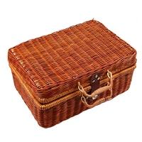 S M L Handmade Travel Picnic Woven Bamboo Basket Mini Rattan Suitcase Storage Basket Fruit Cosmetic