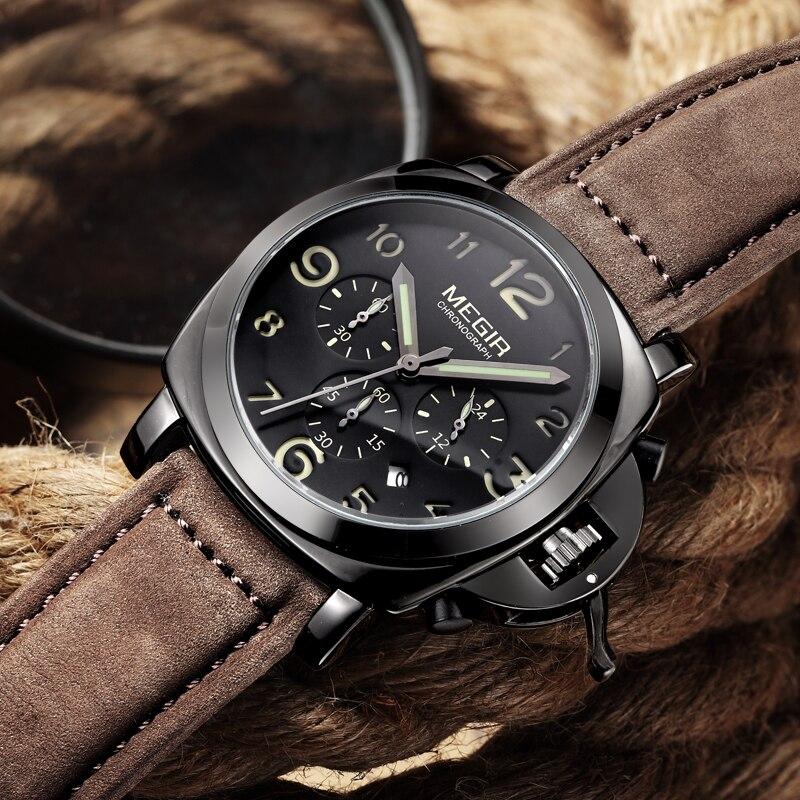 MEGIR Men Fashion Luxury Brand Big Dial Watch Military Sports Watches Men's Waterproof Wristwatches Male Clock Relogio Masculino беспроводная мышь msi m3232 15