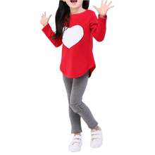 Fashion Selling 3Pcs Set= 1pc hair band+1pc shirts+1pc pants girls Clothing set Girls Clothes suits Heart Design Red IMC