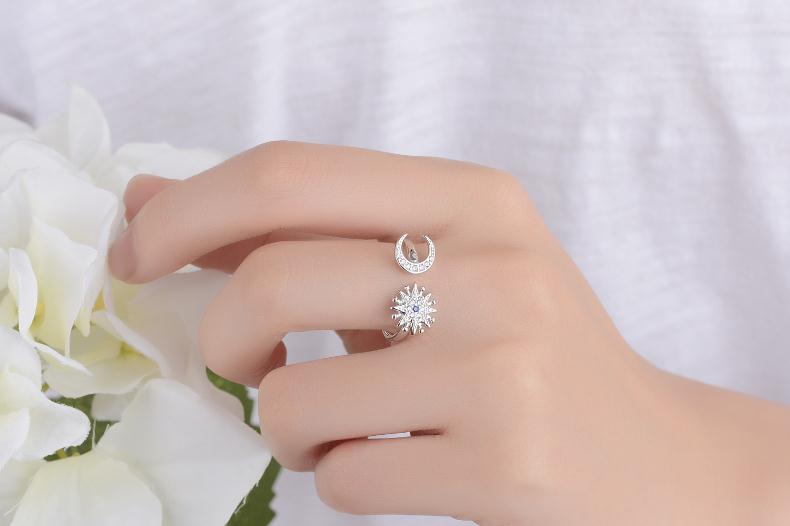 New arrival 925 sterling silver fashion moon star crystal women gift ladies finger ring jewelry no fade open party rings girls in Rings from Jewelry Accessories