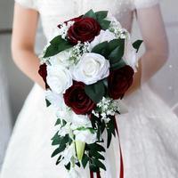 Реалистичный Свадебный букет невесты, ручной связанный цветок, украшение для праздника, вечеринок, Европейский шезлонг, розы, свадебные цве...