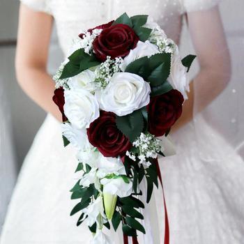 Realistyczny ślubny bukiet panny młodej ręcznie wiązany dekoracja kwiatowa materiały świąteczne europejski szezlong róże ślubne kwiaty tanie i dobre opinie AYicuthia SILK Poliester Rayon NYLON spandex 0 33kg 28cm s160 50cm Bukiet ślubny 22cm