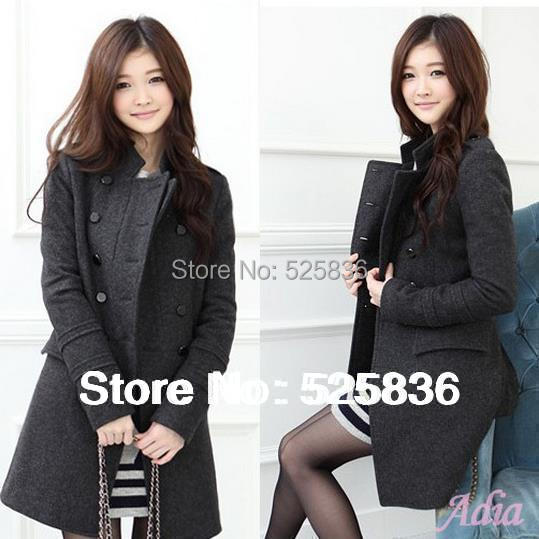 casacos femininos new 2014 women coat new fashion women's slim wool blended bouble-breasted coat winter coat women woollen coat