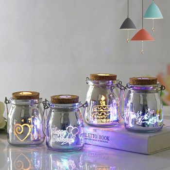Hot Sale LED Glass String Wishing Bottle Crafts Night Light Bedroom Desk Lamp Party Gifts for Girls Birthday Gifts hot sale wrought iron flamingo star tree wooden base night light creative led dream night table lamp bedroom gifts for girls