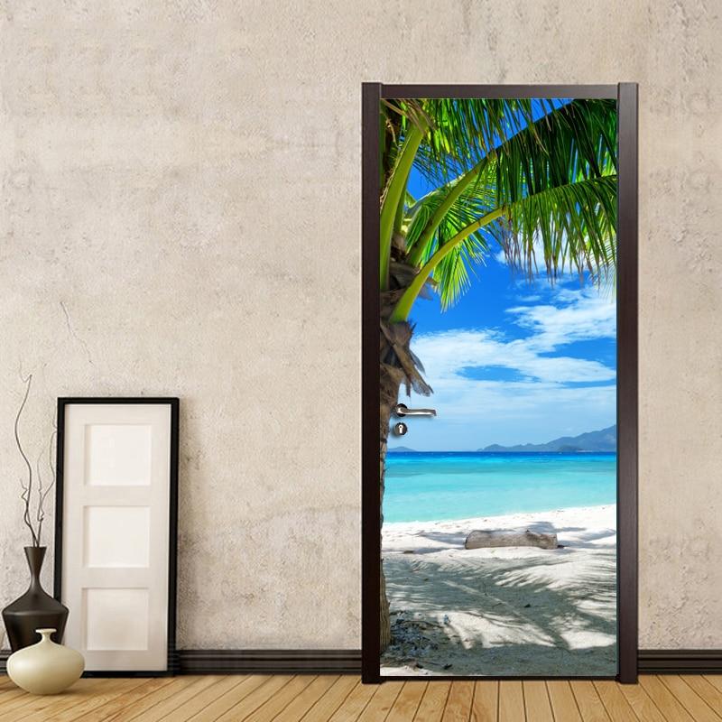 Custom Photo Wallpaper Murals 3D Blue Sky White Clouds Beach Coconut Trees Wall Painting PVC Self-adhesive Door Mural Sticker