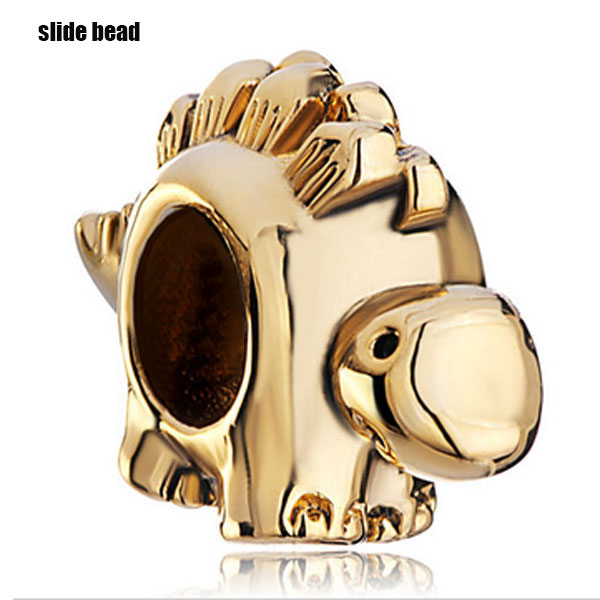 Slide beads New small dinosaur DIY animal charm beads. fit Pandora charm bracelets beads for jewelry making