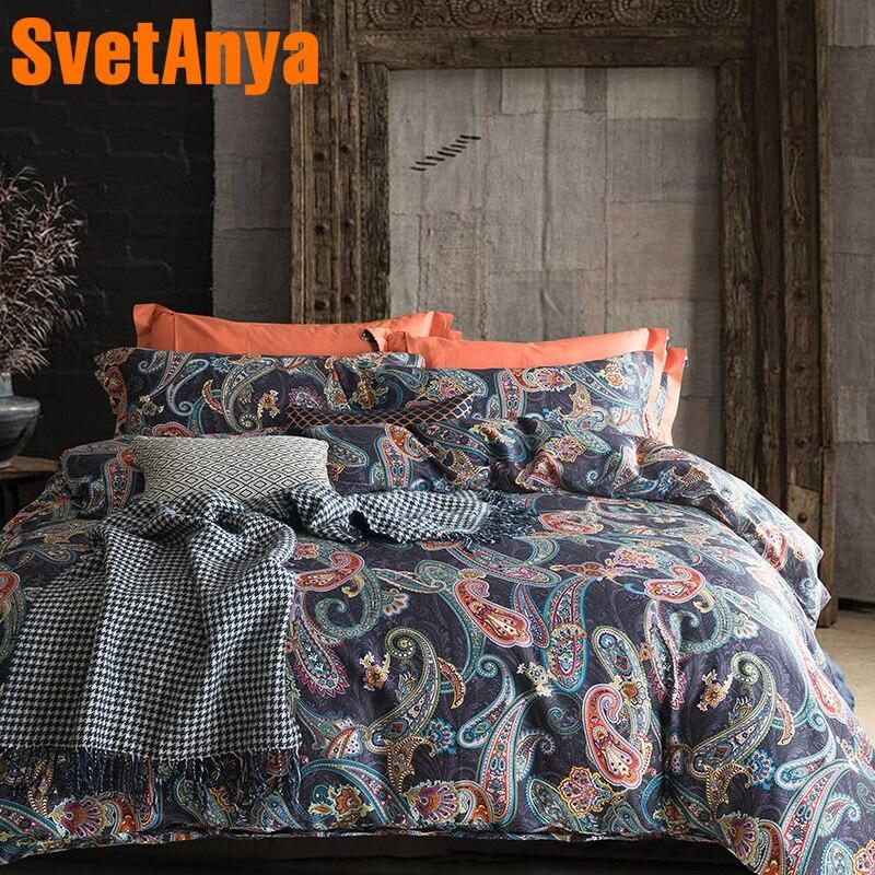 Svetanya Egyptian Cotton Bobemia Bedding Sets Bedsheet Pillowcases Duvet cover set Twin Queen King Double Size
