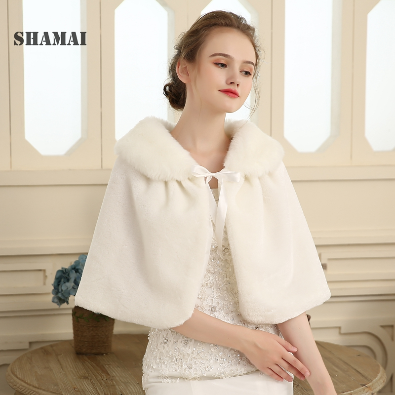SHAMAI  Winter Faux Fur Boleros Bridal Wraps Warm Fur Boleros Real Photo Woman Bridal Wrap Evening Coat AL5466