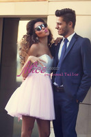 New Arrival 2015 Perfect Light Pink Sequined Top Sweetheart Short Prom Dresses Homecoming With Cute Bow