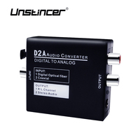 Mini D2A Digital Optical Coax Coaxial Toslink To Analog RCA L R Audio Converter Adapter With