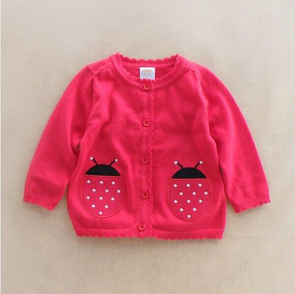041 новый 2015 оптовая продажа бренды новорожденных девочек кардиганы аппликации божья коровка девушки лолита стиль свитер детская одежда лот