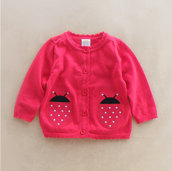 041 New 2015 Wholesale Brands Baby Girls Cardigans Appliques Ladybug Girls Lolita Style Sweater Children's Clothing Lot