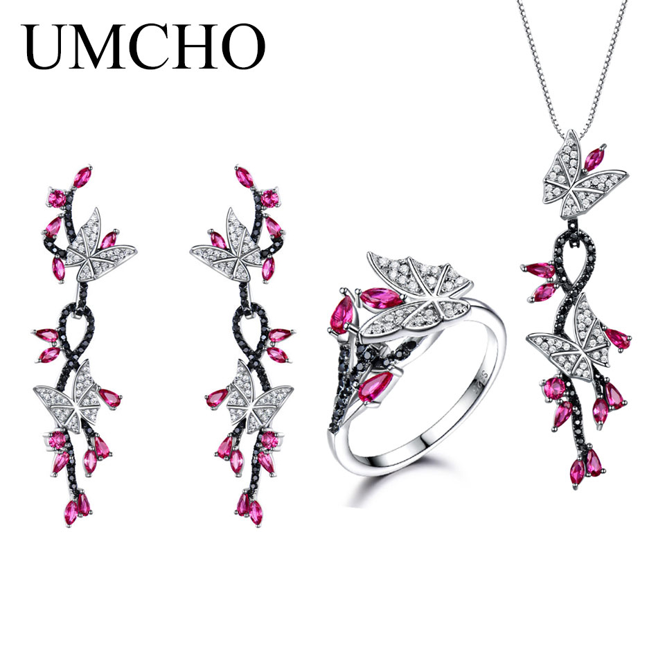 UMCHO 925 Sterling Silver Jewelry Set Romantic Ruby Black Spinel Rings Pendant Drop Earrings For Women Party Christmas Jewelry rhinestone faux ruby pendant jewelry set