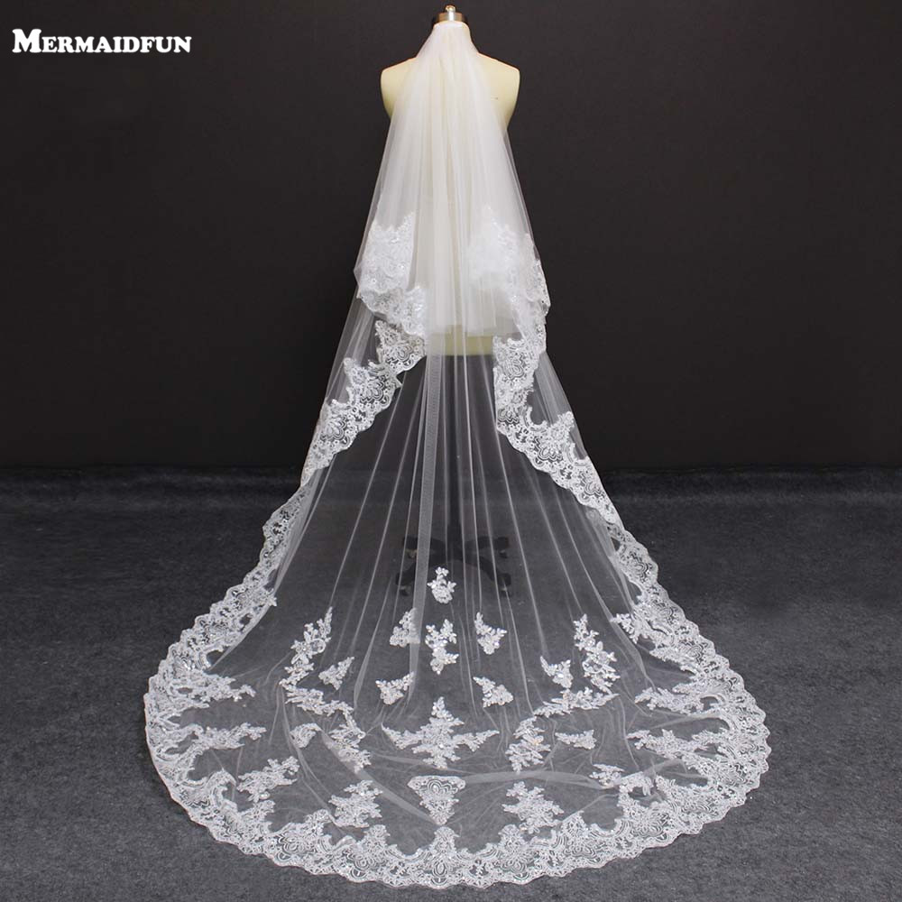 Real Photos 2 Layer Bling Sequins Lace Wedding Veil With Comb Cover Face With Blusher Bridal Veil Wedding Accessories