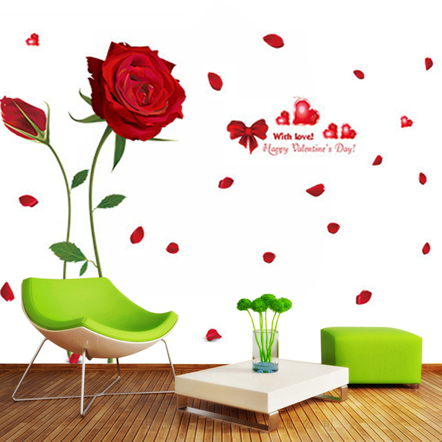 romantic love red rose wall stickers pvc material diy rose flowers