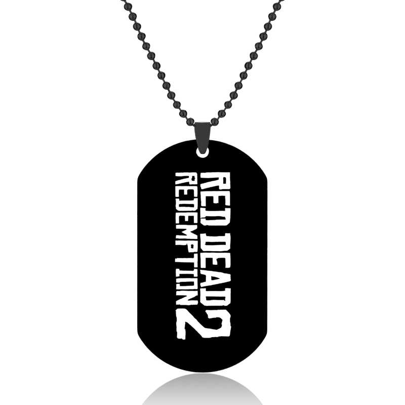 Hot Game Movie Red Dead 2 Redemption Dog Tags Pendant Necklace Fashion Metal Alloy Red Dead Statement Necklace Jewelry Gift