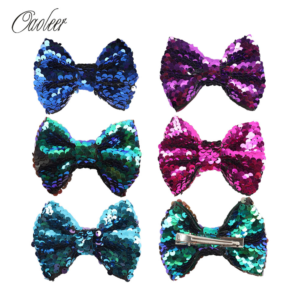 5Pieces/Lot 4 Mermaid Hair Bows With Alligator Clip For Girl Handmade Boutique Sequin Hair Bow Kids Hair Accessories 5 pieces lot d151811 3210