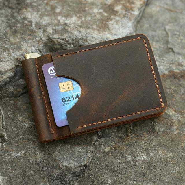 334f9a42b7c4 Personalized Distressed Slim Leather Front Pocket card Wallets for ...