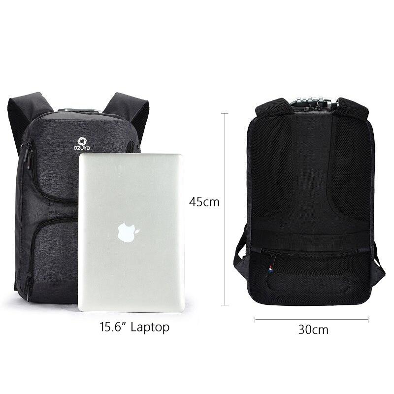 OZUKO 15.6 pouces sac à dos pour ordinateur portable hommes Anti-vol USB Charge sac à dos pour adolescent étanche voyage sac à dos homme sac d'école Mochila - 6