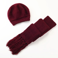 Middle aged Female Beret Hat Winter Rabbit Knitted Women Fashion Cap Mother Birthday Present Warm Scarf Elegant Hats Suit H7135