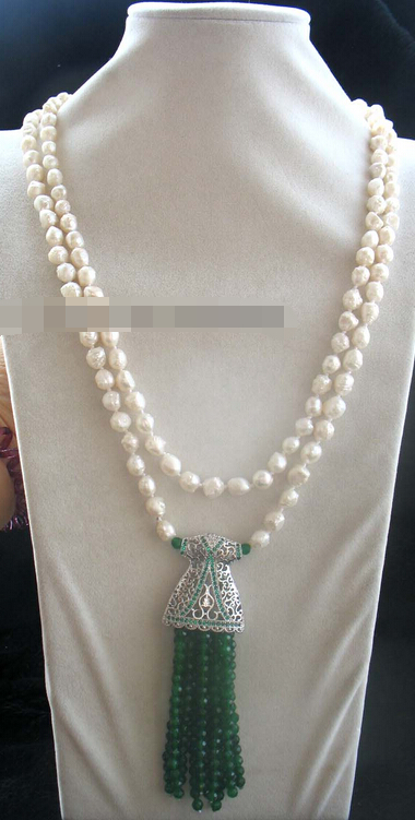 "08149 freshwater pearl white ROUND skirt jade necklace 55"" nature (A0502)"