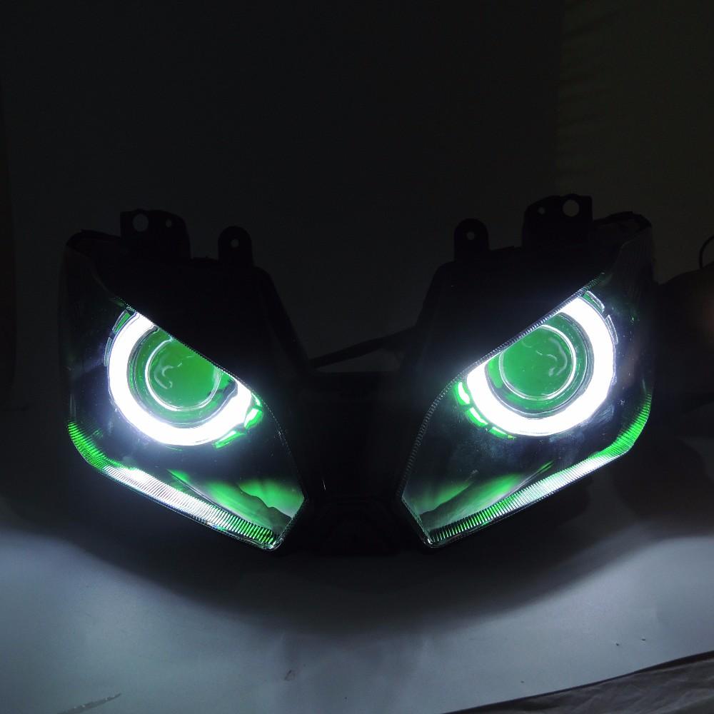 2013-2016 Ninja250 Ninja300 ZX6R Angel Eye HID Projector Custom Headlight Assembly for Kawasaki Ninja 300 ZX-6R 2013-2016 (2)